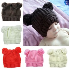 New Stylish0-3Y Baby Dual Ball Knitted Caps Boys Girls Toddler Crochet Beanie Hairball Ear Newborn Hat Cute Children Cap Hot