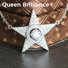 0.5 Carat ct 5mm No Less Than GH Color Five-Pointed Star Shaped Lab Grown Moissanite Diamond Pendant Halo Necklace Test Positive