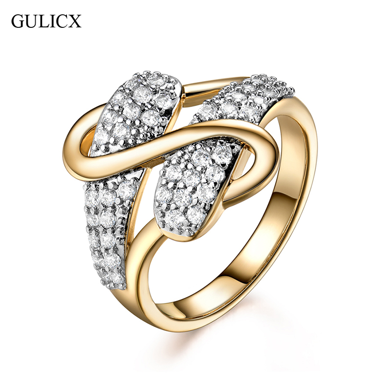 GULICX Unique Novel Rings Christmas Symmetric S Design Ring Gold-color Cubic Zirconia Anillos Wedding Jewelry Best Gift