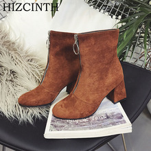 Buy HIZCINTH 2017 Winter Boots Fashion Front Zipper Short Boots Round Head Suede Martin Boots Shoes Woman High Heels Ankle Boots for $27.00 in AliExpress store