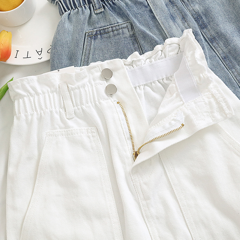 Elastic Waist Summer Women Denim Skirt Pockets Sexy White High waist jeans Skirts A-line Casual Ruffles Female mini saia mujer 8