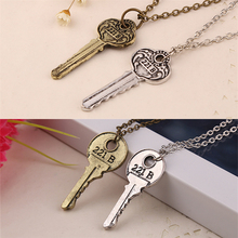 Sherlock Holmes 221B Baker Street Key Necklace Vintage Antique Silver And Bronze Pendant For Men Women Movie Jewelry Wholesale(China)
