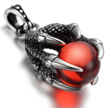 Mens Gothic Biker Stainless Steel Pendant Necklace, Dragon Claw, Red Crystal KP1770(China)