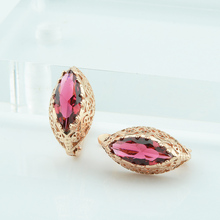 FJ Women Red Stone Earrings 585 Gold Color Oval Round Fashion Drop Earrings Jewelry(China)
