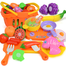 XST Kids Kitchen Toys Children Cutting Vegetables Fruit Plastic Food Set Girls Cooking Pretend Play Toy Shopping Basket Playset(China)