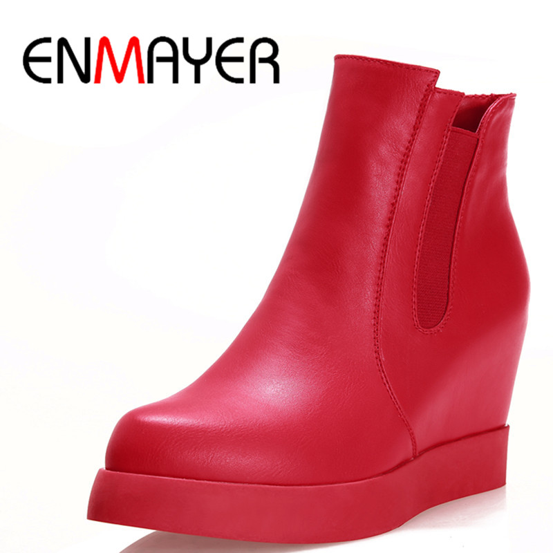 ENMAYER New 3 Colors White Shoes Woman High Heels Wedges Ankle Boots for Women Winter Warm Boots Platform Shoes Large Size 34-43<br><br>Aliexpress