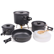 Outdoor Camping Tableware For Trekking Backpacking Cooking Picnic Outdoor Cookware Bowl Pot Pan Set Tourist Kitchen Tools EG03(China)