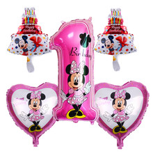 TSZWJ X-004 Free Shipping 5 pieces\lots Mickey Minnie Birthday Series Aluminum Balloon Baby Birthday Party Decorative Toys(China)