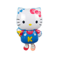 1pc walking pet air balloons toys baby foil balloons for birthday party girl baby hello kitty balloons cat KT animal bolas blue