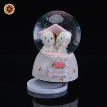 WR Rotary Crystal Ball Music Box Take Hat Christmas Snowman Hand Cranked Music Boxes Crystal Glass Snow Globe Ball Best Gift