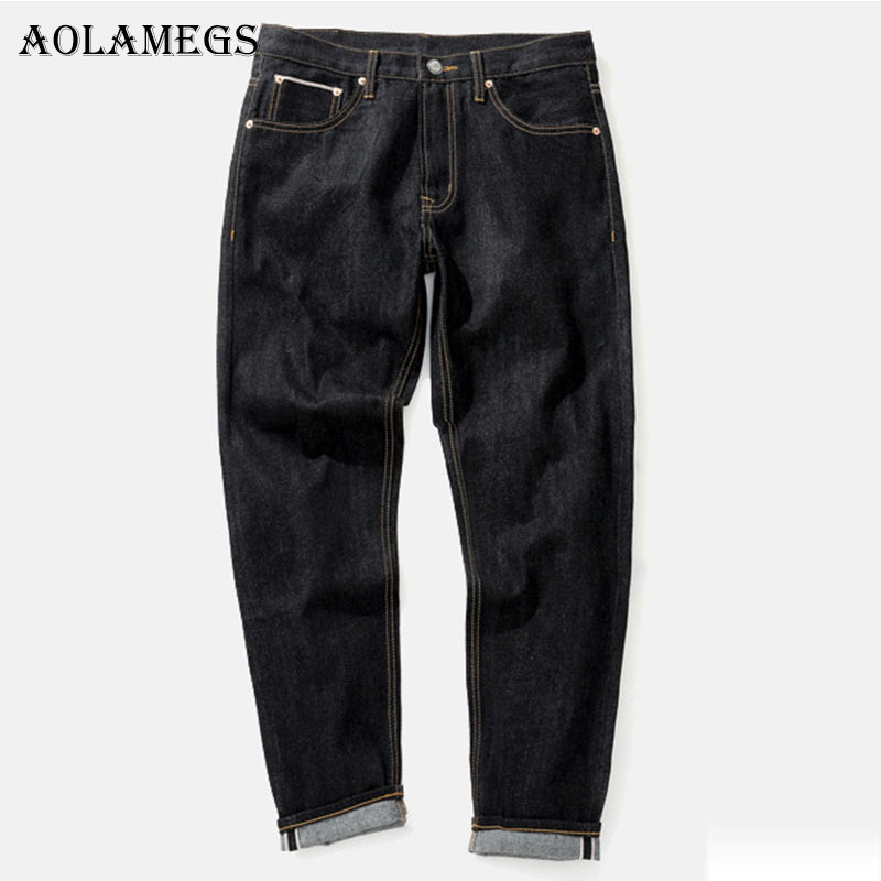 Aolamegs Men Fashion Jeans Pants Mens Selvage denim Jeans Trousers Male Brand Straight Pure Cotton Boys Denim Trousers Bottoms Îäåæäà è àêñåññóàðû<br><br>