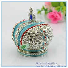 Factory Direct High Quality Enamel Technology With Crystal Stone Europe Style Crown Shape Jewelry Box(China)