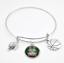 2017 New Basketball Charm Milwaukee Bracelets&Bangle for Women Super Bowl Fans Jewelry(China)