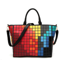 2017 New Rubik's cube Laser BaoBao Tote Women Bags Diamond Geometry Quilted Handbag Mosaic School Bags with Brand Logo(China)
