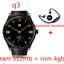 Q3 Plus Android 5.1 Bluetooth Smart Watch MTK6580 512mb+4GB with Nano sim Card WIFI 3G GPS Google Play Map for IOS pk kw88 lem5