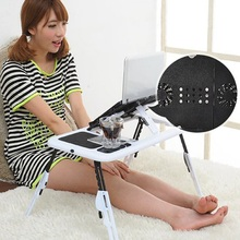 Portable Laptop Desk Bed Sofa Stand New Lapdesk Adjustable Folding Laptop Table E-Table With Tray Cooling Fans Stand Home(China)