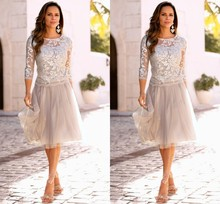 Newest Mother Of The Bride Dresses With Three Quarter Sleeves Lace Tulle Knee Length Formal Dresses Wedding Party Dresses