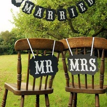 1Set Black and White MR MRS Wedding Photo Decor with Ribbon Wedding Decoration Ideas for Wedding Supplies