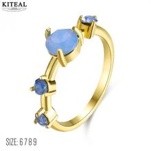 Kiteal Simple Ring Round gold color Blue Fire Opal Rings for Women Trendy Engagement Wedding Jewelry anillos wholesale R74-60912