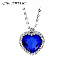 QIHE JEWELRY Classic Fashion Titanic Heart Of Ocean Necklace Heart Pendant Necklace Zircon Luxury Necklace Factory Direct