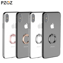 PZOZ For iphone x 10 case TPU transparent Mobile Phone Crystal Clear protective silicone soft case Finger Ring holder case shell(China)