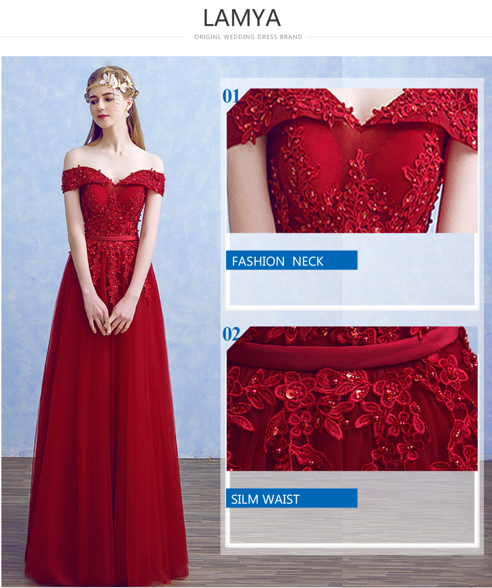 Lamya 2018 New Women Prom Long Evening Dresses Elegant Lace Boat Neck Banquet Formal Party Gowns vestido de festa longo 10
