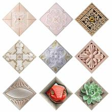 10 PCS/Lot Exclusive Creativity 3D Ceramic Tiles Sticky Stickers Glazed Tile Diagonal 3D Stickers European and American Style 3(China)