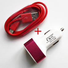 3 USB car charger for mobile phones+ 1M Micro USB Data Cable charger adapter for android