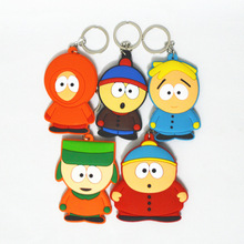 Anime South Park Stan Kyle Eric Kenny Leopard PVC Keychain Figures Model Toys Bag Phone Pendants Dolls Gift