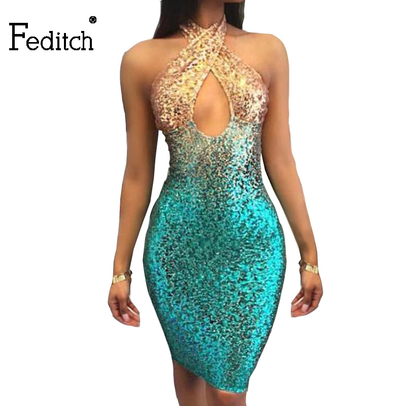 Feditch 2017 New Sexy Sequins Mini Summer Dress Women Slim Backless Vestidos Nightclub Wear Halter Party Dresses Hot Sale(China (Mainland))