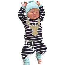 3pcs Toddler Baby Boys Outfits Set Deer Tops+ Long Pants+Hat Gentleman Clothes