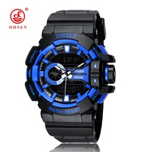 Hot sale OHSEN relogio masculino Digital Quartz Boy Mens Wristwatch 50M Diving Fashion Outdoor Sport Silicone LCD Watch Gift(China)
