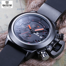 Buy SKONE Calendar Chronograph Military Watches Men Fashion Casual Sports Genuine Silicone Strap Watch Time Clock Relogio masculino for $19.76 in AliExpress store
