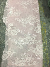 10 yards mm0011 pink/grey lace bonded net hard mesh 2 layers  best quality good shape lace  for  sawing dress/wedding