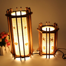 Restoring ancient wood+Cotton cloth creative night light bedroom light reading lamp Energy saving light Christmas gift lights(China)