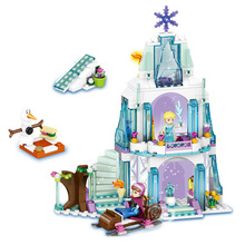 2016 New 299Pcs Elsa's Sparkling Ice Castle Anna Olaf Princess Model Building Kits Blocks Bricks Girl Toys