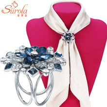 SIIROLA Classic luxury Women jewelry Brooch Silver plated Three circle Crystal flower Kerchief Shawl Scarves Scarf buckle clips