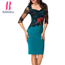 Buy Embroidery Lace Dress Women Summer Sexy Dresses Office Vestidos Hollow Party Work Patchwork Print Bodycon Dress Bubblekiss for $23.45 in AliExpress store