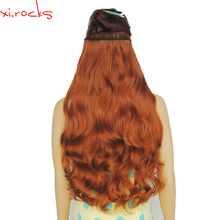 2 Piece Xi.Rocks 5 Clip in Hair Extension 70cm Synthetic Hair Clips Extensions 120g Curly Hairpin Hairpiece Camel Brown Color30J