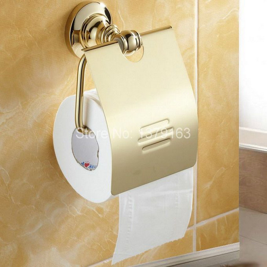 Free Shipping! Luxury Gold Color Polished Brass Wall Mounted Bathroom Copper Toilet Paper Roll Holder  aba105<br>