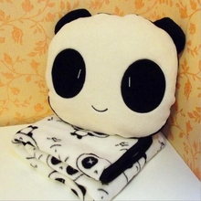 1 set 30x30cm Panda Plush Toys Stuffed Panda Dolls Soft Pillows and 90x75cm Blanket kids toys Good Quality(China)