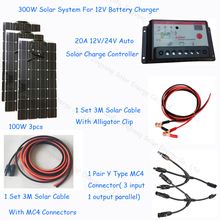 Newly 300w Diy solar home system kit 12V; flexible solar panel 100w 3pcs; 1*20A solar charge controller; 1 set solar cable 3M