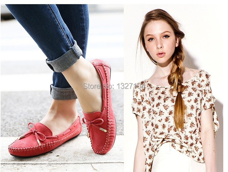 2015 spring brand new women bowknot suede slip on ballet flat loafers casual boat shoes comfort cozy moccasins driving shoes<br><br>Aliexpress