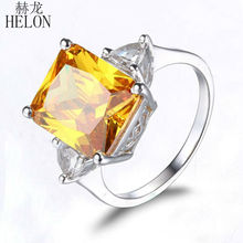 HELON 7.2ct Radiant Cut 3x10mm Citrine & 4.5x4.5mm White Topaz Engagement Wedding Ring Women's Jewelry Ring Solid 10k White Gold(China)