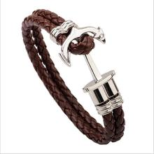 2017 New Leather Men Bracelet Jewelry Man Anchor Bracelet Wristband Charm Braclet For Male Accessories Hand Cuff Bracelets