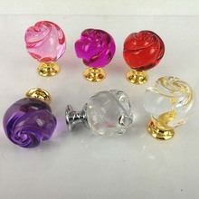 5pcs 30mm Rose Shape Crystal Cabinet Drawer Knobs Glass Dresser Cabinet Pulls Cupboard Closet Shoes Box Handles