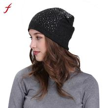 2017 Winter Knit Baggy Women Hats Rhinestone Women Beanies For Womens Cotton Crochet Beanie Caps Skullies & Beanies Cool Hats(China)