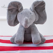 30cm Kids Education Elephant Plush Toy ,Electronic Flappy Elephant Play Hide And Seek Baby Kids Soft Doll Birthday Gift Toy