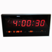 Large LED Digital Wall Clock Hourly Chime Electronic Alarm Clock with Temperature Calendar Week Date Silent Modern Home Decor