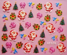 2 Sheet XF Christmas nail stickers nail stickers nail stickers 3D nail stickers French one from the grant XF378